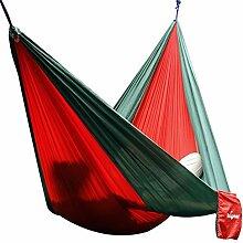 Hängematte Camping Hammock Single/Double Parachute, leicht und tragbar, mit extra Schlafaugenmaske Augenbinde Blindfold für für Outdoor/Camping/Reisen (Single, Rot/Dunkelgrün)