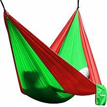 Hängematte Camping Hammock Single/Double Parachute, leicht und tragbar, mit extra Schlafaugenmaske Augenbinde Blindfold für für Outdoor/Camping/Reisen (Single, Hellgrün/Rot)