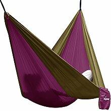 Hängematte Camping Hammock Single/Double Parachute, leicht und tragbar, mit extra Schlafaugenmaske Augenbinde Blindfold für für Outdoor/Camping/Reisen (Single, Lila/Kamle)