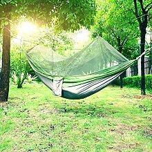 Hängematte, Holifine® Reisehängematte Nylongewebe Camping Hängematten Mit Moskitonetzen Hochfester Belastbarkeit bis 200 kg Grün mit grau