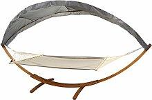 Hängematte mit Gestell und Dach 200 x 150 cm Auflage Holz Ga