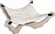 Hängematte Nickerchen Dekor Fell creme–Schlafkabine Anhänger aus Birke mit Hängematte aus Webpelz pu cm. 58x 58H.30