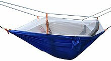 Hängematte, Parachute cloth hammock, Antye® Tragbaren Nylon Gewebe Reisen Camping Hängematte Mit Moskitonetzen, Hochfester Nylon Hängematte (Blau)