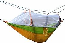 Hängematte, Parachute cloth hammock, Antye® Tragbaren Nylon Gewebe Reisen Camping Hängematte Mit Moskitonetzen, Hochfester Nylon Hängematte (Gelb/Grün)
