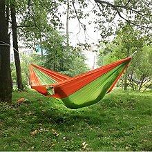 Hängematte, Parachute cloth hammock, Antye® Tragbaren Nylon Gewebe Reisen Camping Hängematte, Hochfester Nylon Hängematte für Camping, Reisen, Wandern, usw. (Grün/Orange)
