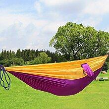 Hängematte, Parachute cloth hammock, Antye® Tragbaren Nylon Gewebe Reisen Camping Hängematte, Hochfester Nylon Hängematte für Camping, Reisen, Wandern, usw. (Lila/Gelb)