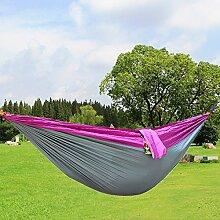 Hängematte, Parachute cloth hammock, Antye® Tragbaren Nylon Gewebe Reisen Camping Hängematte, Hochfester Nylon Hängematte für Camping, Reisen, Wandern, usw. (Grau/Lila)
