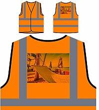 Hängematte Strand Kunst Reisen Die Welt Personalisierte High Visibility Orange Sicherheitsjacke Weste b372vo