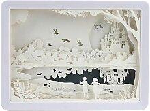 Hängende Burg Design 3D Schatten Papier