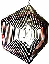 Hängende Edelstahl Garten Wind Spinner Kristall Sonnenfänger - Großes Sechseck