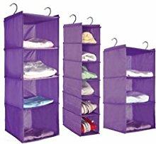 Hängende Garderobe Aufbewahrungs- und Hängetasche Garderobe Mehrschichtige Aufhängung , six layer narrow edition (without drawer) , purple