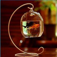 Hängende Glas Dekovase Blumenvase Pflanze Vasen Flasche Terrarium Container - S