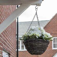 Hängende Kunstpflanze Blühende Hortensie in Korb