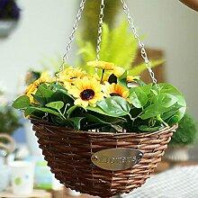 hängenden Blumenkörbchen, Korbgeflecht