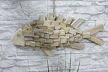 Hänger Fisch Flow Treibholz naturfarben Kordel Breite 55 cm, Gartendeko, Fish, Wanddeko