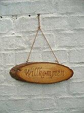 Hängeschild, Türschild, Holzschild, Willkommen, Baumscheibe, 30 cm