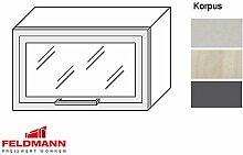 Hängeschrank mit Glas 1704 Küchenschrank 60cm Korpusfarbe u. Rahmenmaterial wählbar (TY-W4BS/60) (Rahmenmaterial: MDF alufarben / Korpusfarbe: grau)
