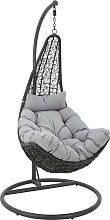 HÄNGESESSEL Kunststoff, Textil Grau, Schwarz