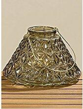 Hängewindlicht mit Metalleinsatz Ethno braun