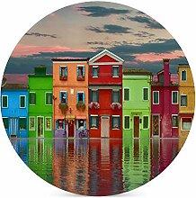 Häuser Himmel Wolken Wasser Reflexion Farben