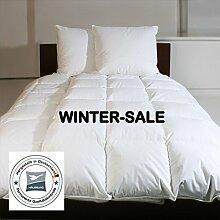 HÄUSSLING Winter Daunendecke extra warm 155x220 cm, 1550g neue 90% Daunen Klasse I, 6cm hohe Innenstege, 3x4 Kassetten, Wärmeklasse 5, MADE IN GERMANY