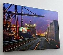 Hafen Container LKW Schiff Leinwand Bild Wandbild