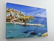 Hafen Schiffe Griechenland Kreta Leinwand Bild