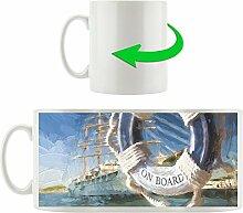 Hafenblick, Motivtasse aus weißem Keramik 300ml, Tolle Geschenkidee zu jedem Anlass. Ihr neuer Lieblingsbecher für Kaffe, Tee und Heißgetränke.