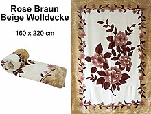 Hafix Wolldecke Kuscheldecke Rose Blume Braun