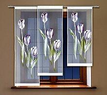 HAFT® Flächenvorhang kurz, Panel kurz, Schiebevorhang kurz, mit Tunneldurchzug Gardine, Vorhang (140 x 50 cm)