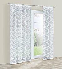 HAFT® Flächenvorhang/Schiebevorhang/Raumteiler/Panel mit Tunnelzug,250 x 50 cm; Weiß