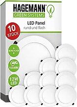 HAGEMANN 10 x LED Panel Deckenleuchte rund 12 Watt