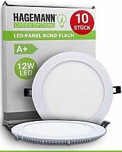 HAGEMANN® 10 x LED Panel Deckenleuchte rund 12