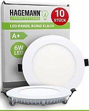 HAGEMANN® 10 x LED Panel rund 6 Watt 540lm – Ø