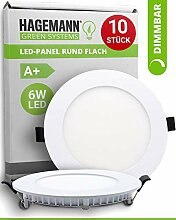 HAGEMANN® 10 x LED Panel rund dimmbar 6 Watt