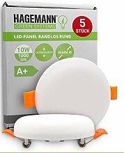 HAGEMANN® 5 x LED Deckenleuchte 10W flach rund