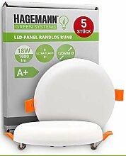 HAGEMANN® 5 x LED Deckenleuchte 18W flach rund