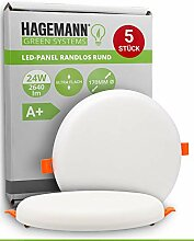 HAGEMANN® 5 x LED Deckenleuchte 24W flach rund