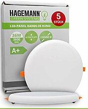 HAGEMANN® 5 x LED Deckenleuchte 36W flach rund