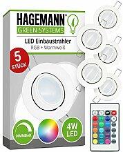 HAGEMANN® 5 x LED Einbaustrahler RGB dimmbar mit