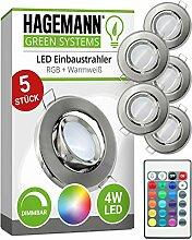 HAGEMANN 5 x LED Einbaustrahler RGBW dimmbar mit