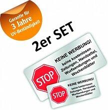 haggiy® Briefkasten Aufkleber Set 'STOP KEINE WERBUNG!'mit 3 Jahren UV-Garantie, Wetter&Schmutz beständig (kein Papier)
