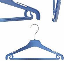 Hagspiel 20 St. Kleiderbügel aus Kunststoff für Kinder, blau, mit Steg und Rockhaken