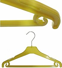 Hagspiel 20 St. Kleiderbügel aus Kunststoff für Kinder, gelb, mit Steg und Rockhaken