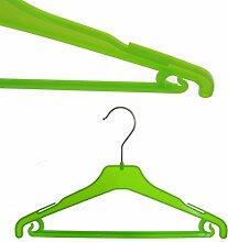 Hagspiel 20 St. Kleiderbügel aus Kunststoff für Kinder, grün, mit Steg und Rockhaken