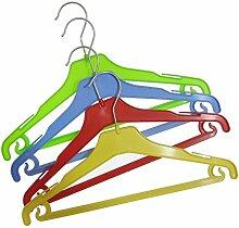 Hagspiel 20 St. Kleiderbügel aus Kunststoff für Kinder, je 4 Stk. gelb, grün, blau, rot mit Steg und Rockhaken