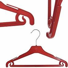 Hagspiel 20 St. Kleiderbügel aus Kunststoff für Kinder, rot, mit Steg und Rockhaken