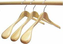 Hagspiel Kleiderbügel, 5 Stk. Kleiderbügel aus Holz, Mantelbügel, Schulterbügel, natur lackier