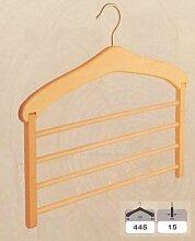 Hagspiel, Kleiderbügel aus Buchenholz, 2 Stk. Hosenbügel für 4 Hosen natur lackier
