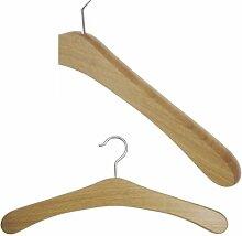 Hagspiel Kleiderbügel aus Holz, 5 Stk. Garderobenbügel aus Eichenholz mit vernickelter Haken